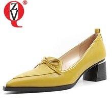 Zvq sapatos femininos primavera mais novo moda de alta qualidade couro genuíno bombas rasas deslizamento-on 5 cm estilo estranho fora sapatos