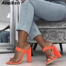 Aneikeh/большой размер 41; летние флуоресцентные шлёпанцы; босоножки на высоком каблуке; Вьетнамки с пряжкой; женская обувь на полой подошве; пикантные шлепанцы без задника