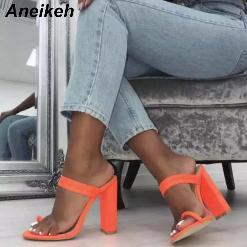 Aneikeh Big Size 41 Summer Fluorescent Mules Slippers High Heel Sandals Flip Flop Buckle Hollow Women Shoes Hollow Sexy Slides