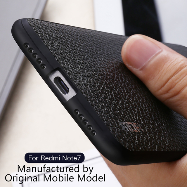 MOFi Redmi Note 7 7 Pro Lichee Leather Shockproof Back Case Cover