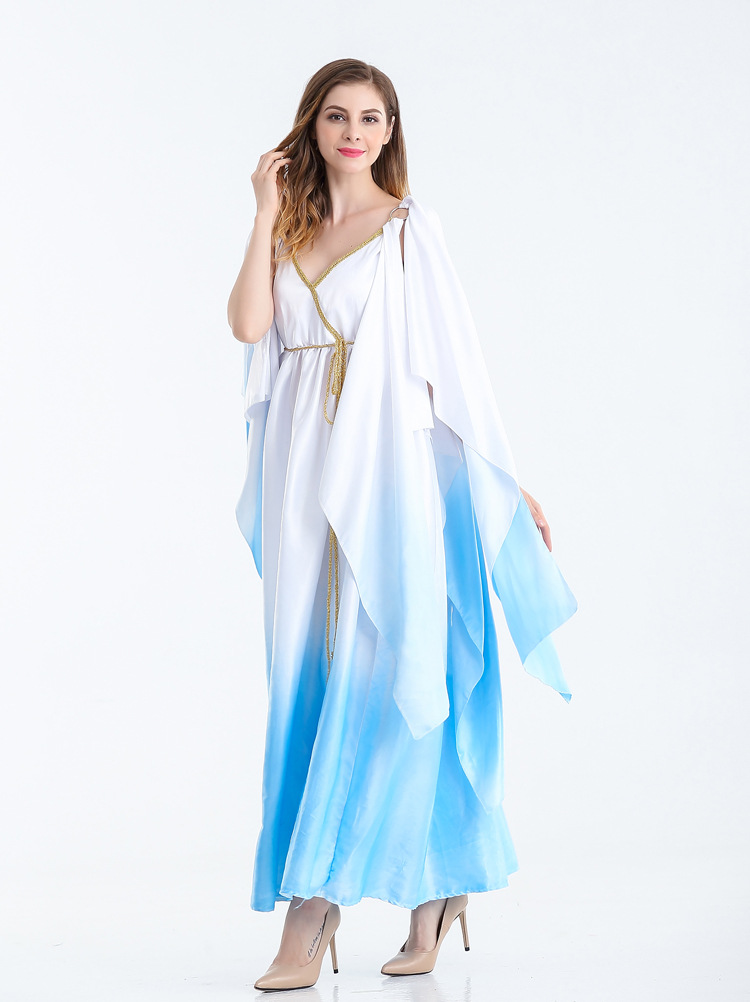 MOONIGHT Woman Halloween Costume Greek Goddess Queen Fitted Egypt Arab Girl In A White Dress