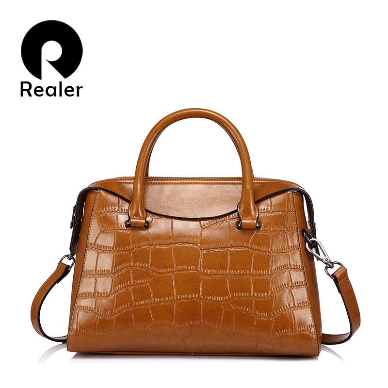 Realer Brand Women Handbag  High Quality  Women Shoulder Bagssplit Leather Tote Bag With Crocodile Pattern Ladies Messenger Bags