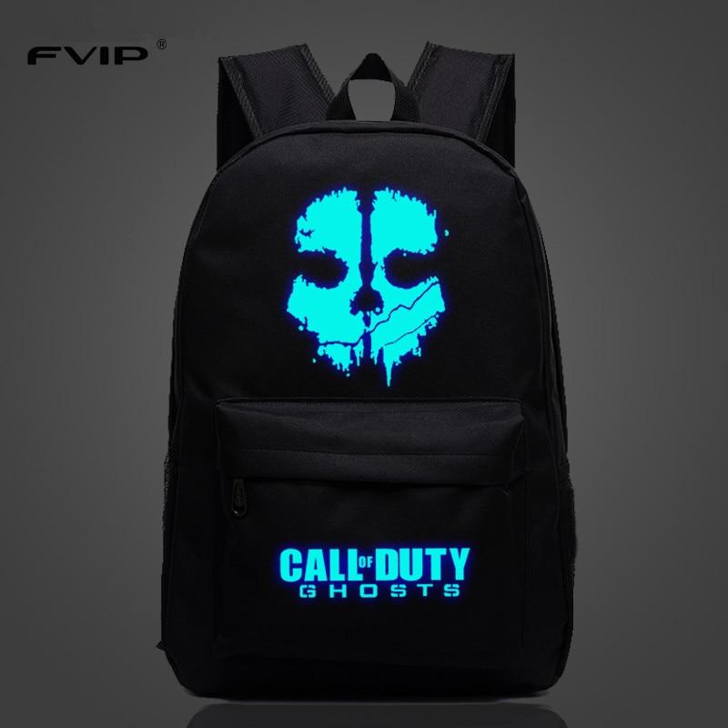 FVIP Teenagers Backpacks Travel Bag Game Call of Duty Luminous Bagpacks Mochila Bolsas Escolar For Young
