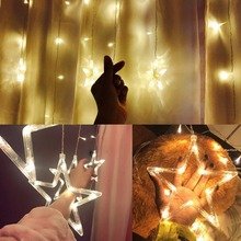LED String Warm White Christmas Ornaments Lights, Outdoor Star Garland LED Curtain Party Decoration