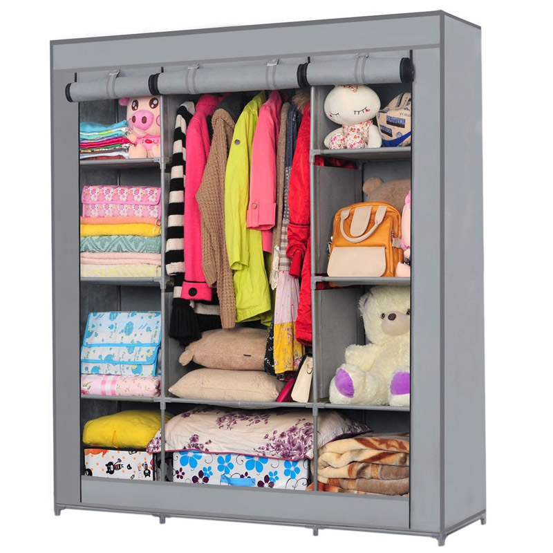 YOUUD Popular Clothes Closet with Graceful Gray Color Wardrobe for Clothes or Idle Items Making a Neat Comfortable Home