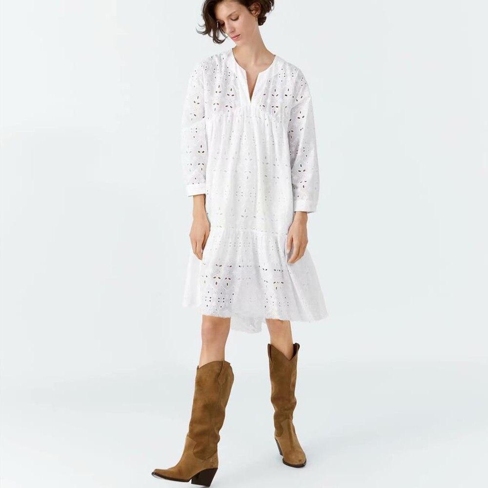 Bohème broderie printemps femmes robe v-décolleté manches longues épissure femmes robes Vintage coton élégant mi robe 2019 nouveau
