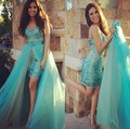 On Sale Sexy Sweetheart Turquoise Short Prom Dresses with Detachable Train 2017 Beaded Crystals High Low Party Gown Plus Size
