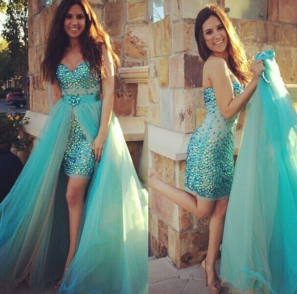 On Sale Sexy Sweetheart Turquoise Short   Prom     Dresses   with Detachable Train 2019 Beaded Crystals High Low Party Gown Plus Size