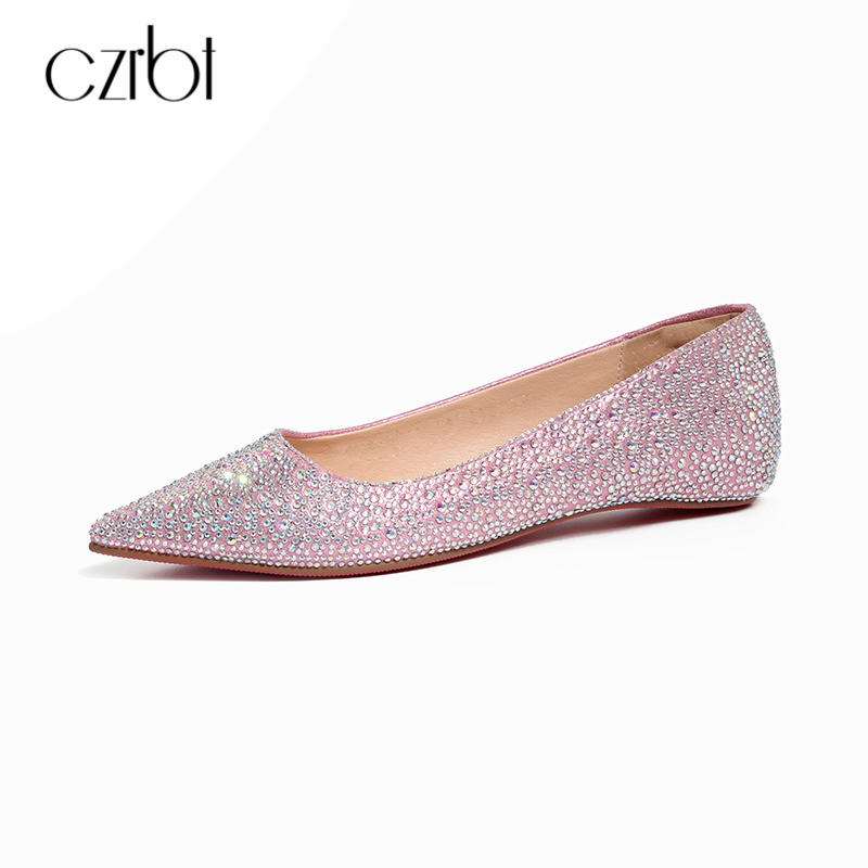 CZRBT 2018 printemps été Bling bateau chaussures femmes appartements en cuir doublure chaussures de mariage bouche peu profonde grande taille marque Style grande taille
