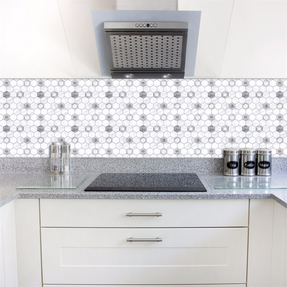 Yanqiao Grey and White Marble Wall Sticker Bathroom Kitchen ...