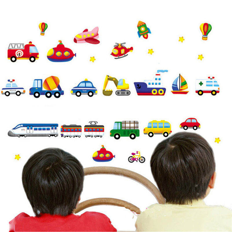 Fantasy Vehicle Wall Stickers Cartoon Car Aircraft Ship Decals For Kid Room DIY Art Poster Mural Cute Unique Wallpaper Stickers