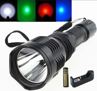 Tinhofire High Quality HS-802 CREE LED WHITE/RED/GREEN/BLUE Light LED Flashlight Torch +18650 battery+ charger