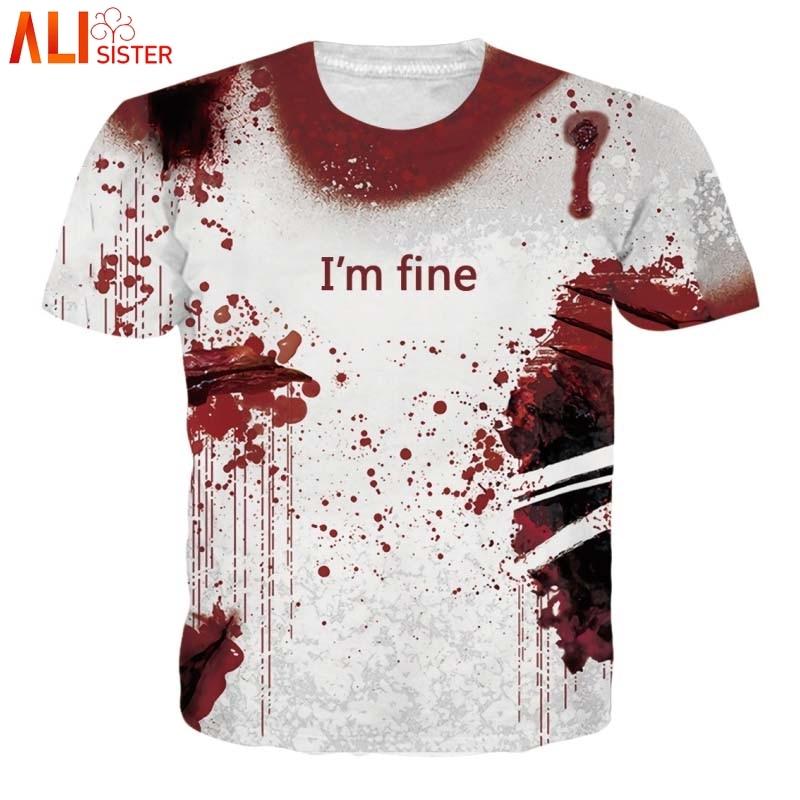 Alisister Halloween Horror Blood T Shirt Men Women Plus Size Tee Shirts I'm Fine Cosplay Hoodies Wound Print 3d Streetwear Tops