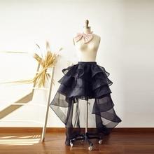 New Design High Low Organza Skirt Floor Length Long Maxi Skirt Custom Made Tiered Ruffles Puffy Transparent Black Skirts Women