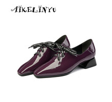 AIKELINYU 2019 Patent Leather Mules Pumps Women Shoes Chunky Block High Heel Dress Elegant Bow Soft Comfort Plus Size
