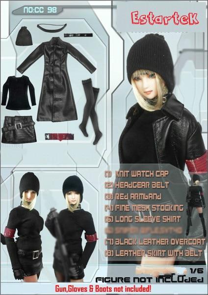 Steady Estartek Cc98c 1/6 Cool Black Female Leather Overcoat Costume Set For 12 Collectible Action Figure Diy Toys & Hobbies