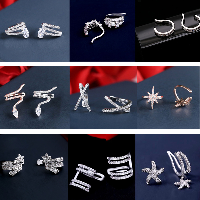 Hot Sale Tiny Charm Women Clip Ear Earring Crystal Star Water Drop Ear Cuff No Hole Cubic Zirconia Jewelry For Women Party Gift