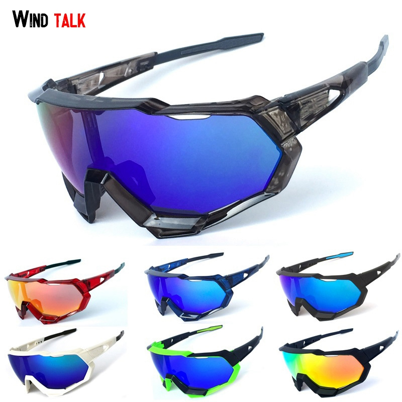 Wind Talk Polarized Sports Men Sunglasses UV400 Protection Running Ski Golf Cycling Glasses With 3 Interchangeable Lenses