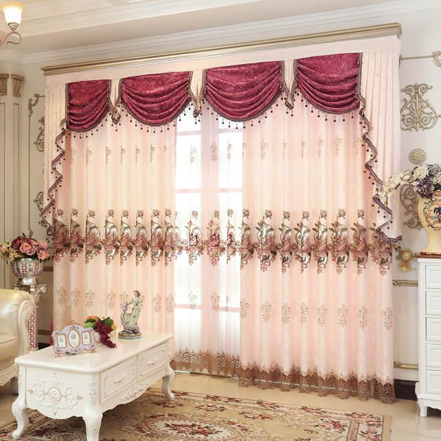 €13.91 16% de DESCUENTO|Nuevas cortinas para comedor sala de estar Valance  tul lujo estilo europeo bordado cortina ventana personalizada boda-in ...