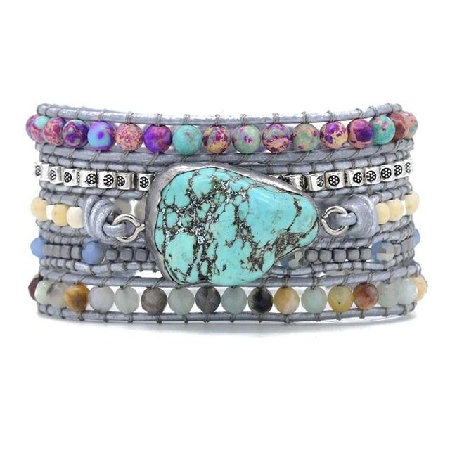 Bracelet Pierre Porte-Bonheur Turquoise Cuir