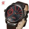 Ohsen marca correa de cuero relojes deportivos negro rojo digital de banda reloj de cuarzo militar reloj de pulsera de cuarzo de los hombres relogio masculino