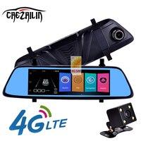 Chezhilin Z8 4G DVR Carro Rear view Monitor de 7 Toque Remoto espelhar com DVR e câmera Android Dual lens 1080 P WI-FI dashcam