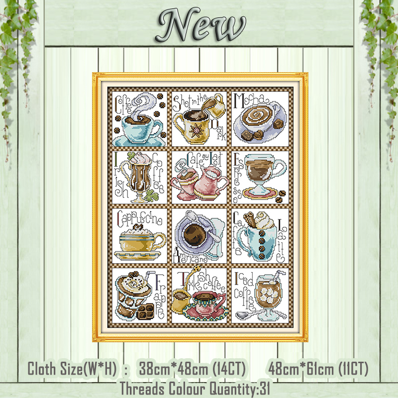 Available Factory Sale Needlework Embroidery Package Cross Stitch Kit Whole Lotta Latte Coffee Cup Cross-stitch