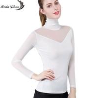 Moda Jihan Women S Mesh Bottoming Shirt Stretchable High Collar See Through Tops Autumn Winter Female
