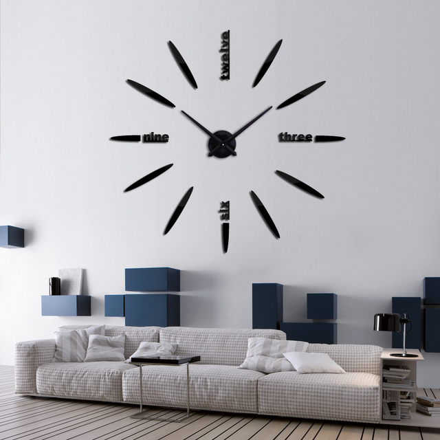 2017 new wall clock watch clocks stickers home decoration living room abstract 3d diy acrylic mirror horloge hot