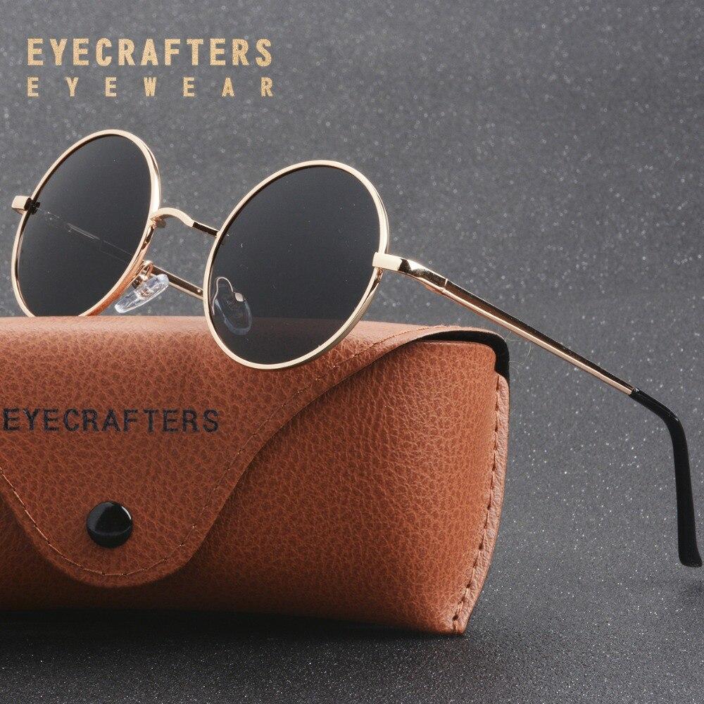 Nova Marca Designer Clássicos Óculos Redondos polarizada Homens Pequenos Mulheres Óculos de Condução Óculos de Metal Retro Do Vintage John Lennon