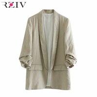 RZIV Spring women suit leisure suit cardigan solid color pocket decoration