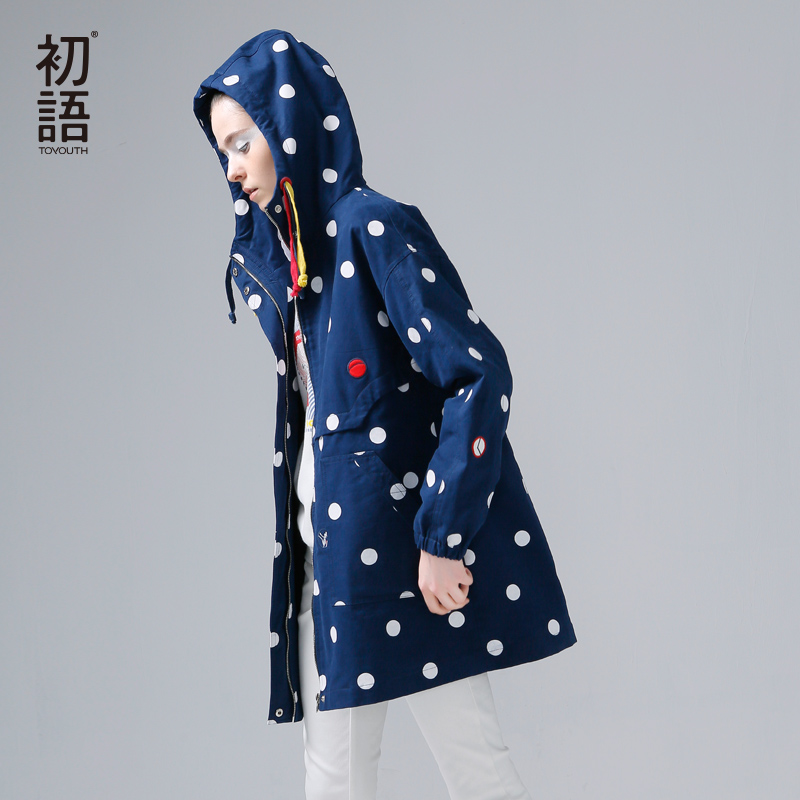 Toyouth New Arrival Women Casual Cotton Trench Coat Autumn Dot Printed Pockets Zipper Hooded Collar Trench