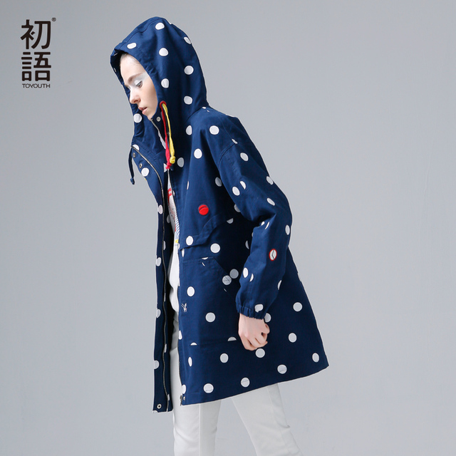 Toyouth New Arrival Women Casual Cotton Trench Coat Autumn Dot Printed Pockets Zipper Hooded Collar Trench Coat