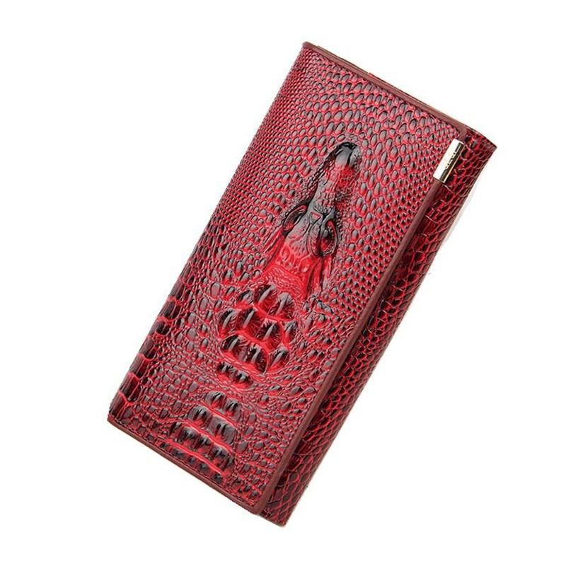 Genuine Leather Women Wallet Crocodile Head Cowhide Wallet Fashion Ladies Wallet 3D Long Section Designer Trend Woman Wallet
