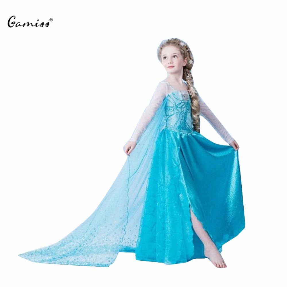 Sale kids girls long dress a line 4 12 years old cute round neck long