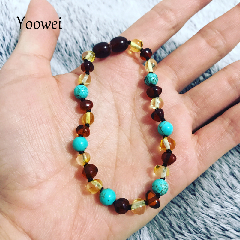 Yoowei Baltic Amber Bracelet Baroque Beads 6mm Natural Turquoise Gemstone Adult Baby Amber Teething Necklace Jewelry Wholesale