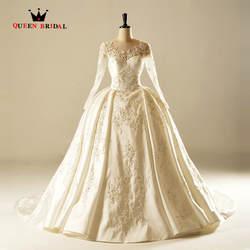 Индивидуальный заказ бальное платье с длинным рукавом атласная Кружево Бисер Винтаж роскошные свадебные платье Свадебные Платья Vestidos De