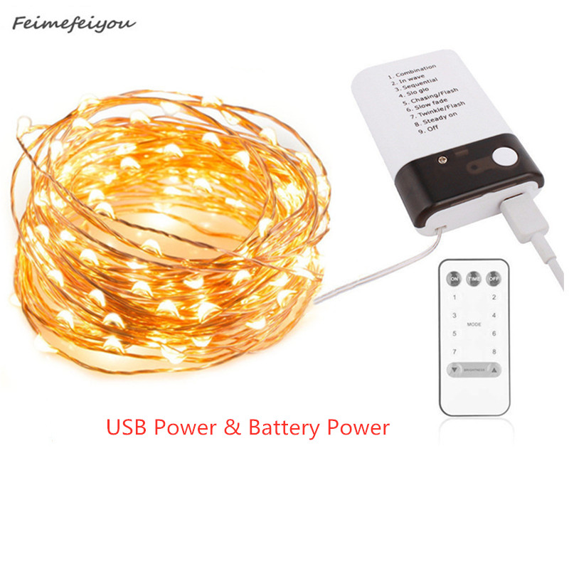 5/10/20M LED Copper Wire Light String Eight Modes Battery And USB Power Fairy Garland Lights For Christmas Wedding Decor Light