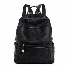 Кожа Для женщин рюкзак кутюр Рюкзаки с большой Ёмкость высокое качество высокое Школьные сумки для подростков Обувь для девочек черный