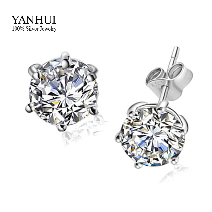 Hot Have S925 Stamp Pure 925 Sterling Silver Stud Earrings Set Round 6 Mm 1 Carat Cz Diamant For Women Bke002 In From