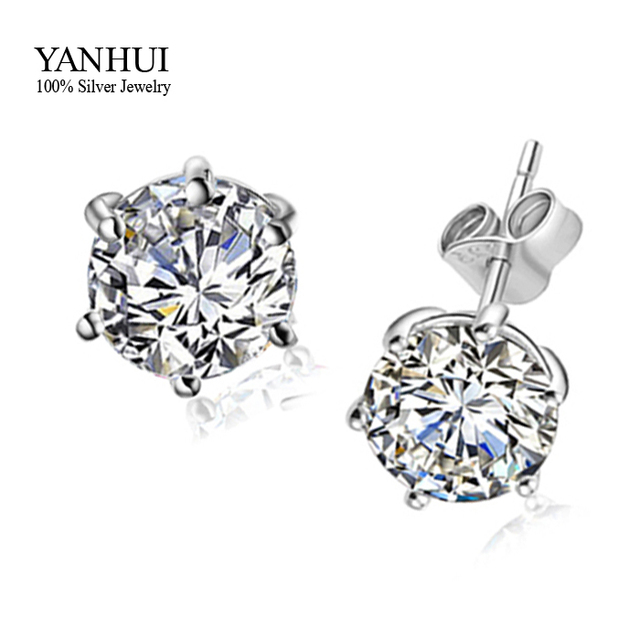 Hot Have S925 Stamp Pure 925 Sterling Silver Stud Earrings Set Round 6 Mm 1