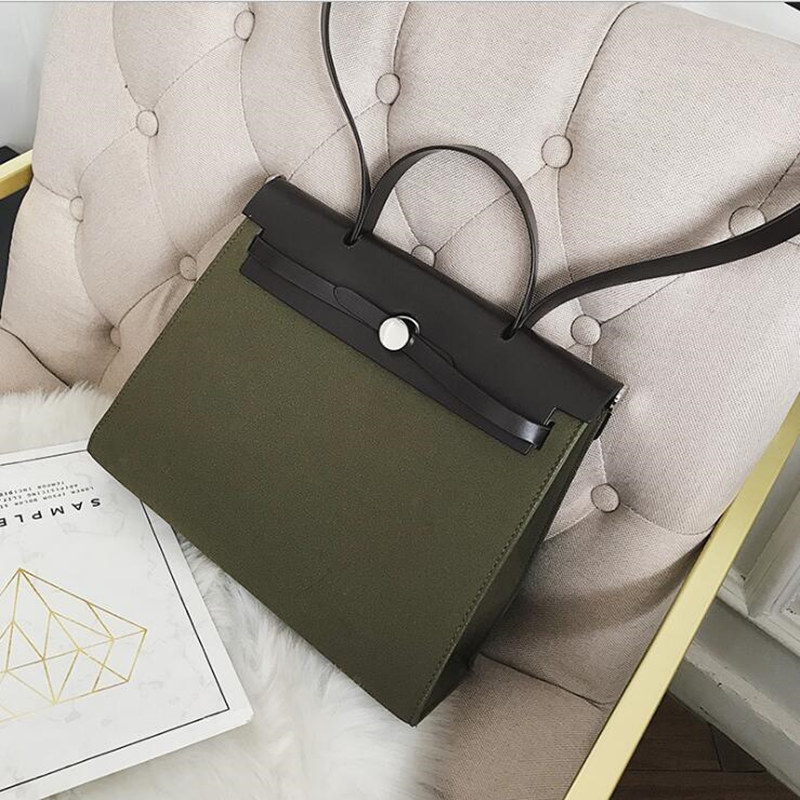 Women's Bag  2019 New European And American Style Simple Contrast Color Hand Bill Of Lading Shoulder Diagonal Trend Qq030