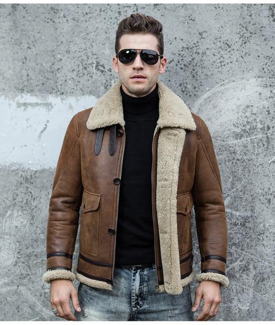 Men's Fur One Jacket Double-Faced Fur Men's Leather Jackets Air Force Flight Suit Lapel Thick Short Jacket Keep Warm WZS2016001