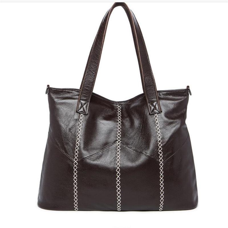 купить Fashion Genuine Leather Women Shopping Shoulder Bags New Han Style First Layer Cow Leather Retro Large Capacity Women Handbags недорого