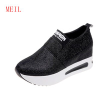 Women's Glitter Sequins loafers Wedges Black Gold Vulcanized Shoes Woman Comfortable Platform Sneakers Zapatos Bajos De Mujer(China)