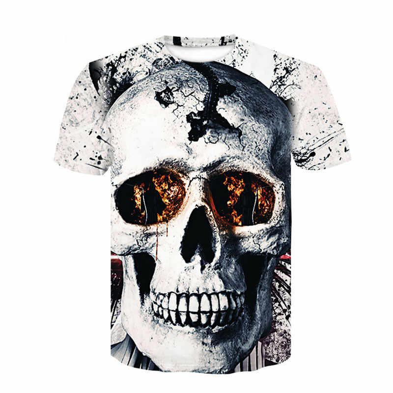2018 Новая мужская летняя футболка с принтом черепа и покера, Мужская футболка с коротким рукавом, 3D футболка, Повседневная дышащая футболка, футболка большого размера