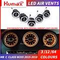 Per A/C/E/GLC/G classe LED turbina air vent LED air condition vent sincronizzato con luce ambiente W205 W213 X253 air vent