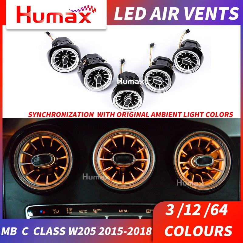 Pour a/c/E/GLC/G classe LED évent de turbine LED évent de climatisation synchronisé avec la lumière ambiante W205 W213 X253 évent