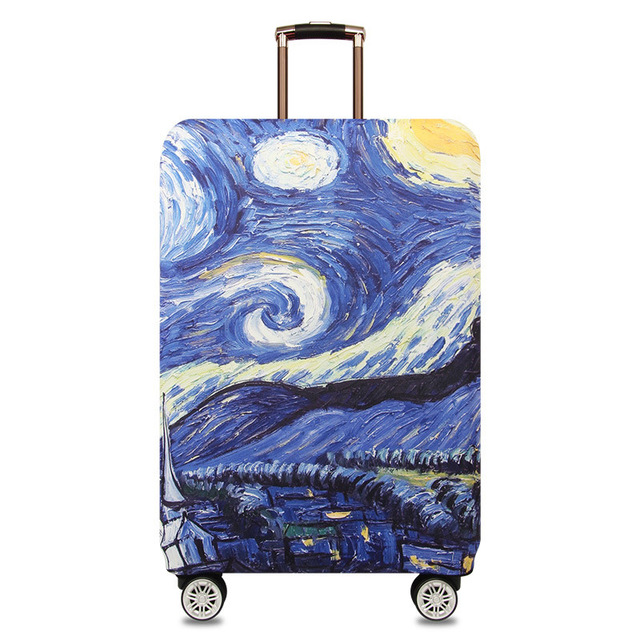 HMUNII карта мира, дизайнерский защитный чехол для багажа, Дорожный Чехол для чемодана, эластичные пылезащитные Чехлы для 18-32 дюймов, аксессуары для путешествий - Цвет: Van Gogh painting