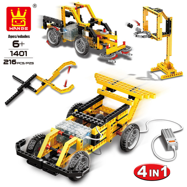 WANGE 4 in 1 Electronic Power Machinery Blocks DIY Creative Blocks Racing Car Toys Educational Building Block Toys for Children